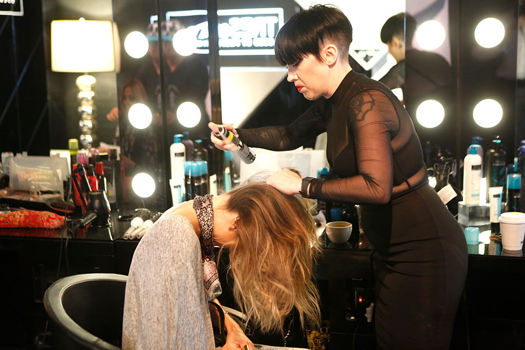 Fashion week goers have their hair styled at TRESemme Salon at Moynihan Station