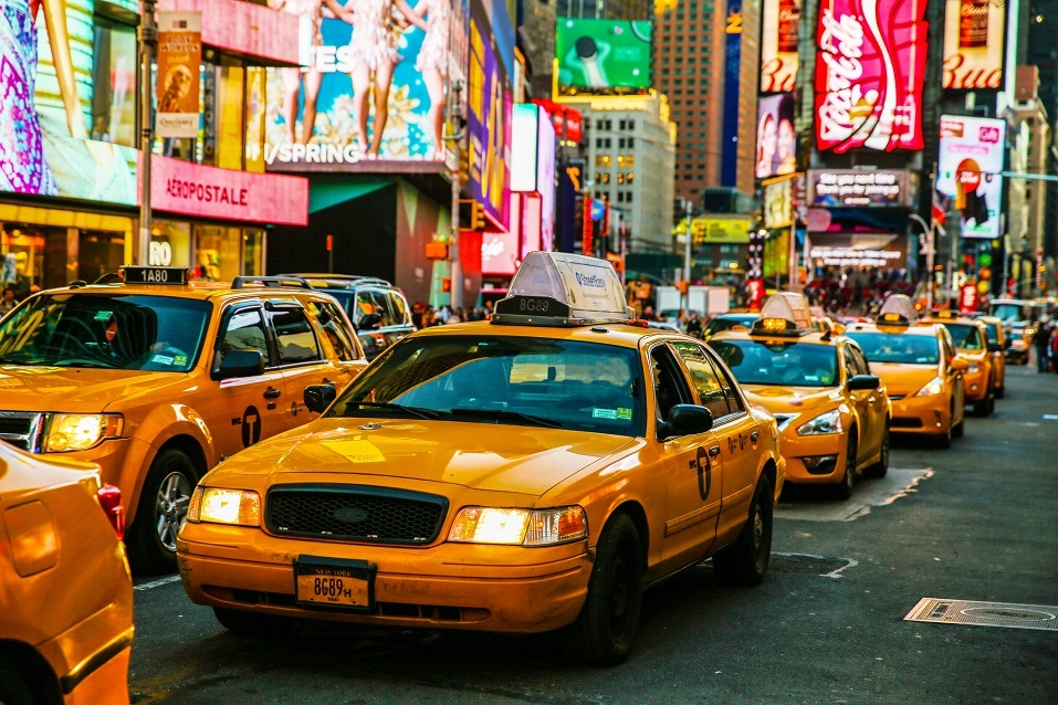 Taxis on 7th Avenue at Times Square