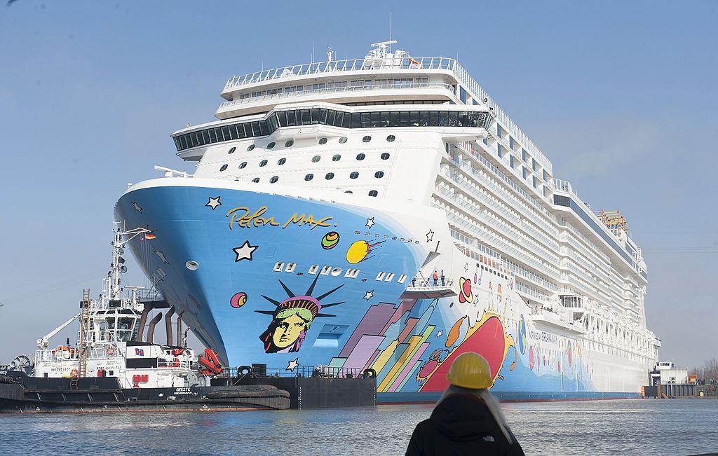 The Norwegian Breakaway cruise liner leaves the Meyer Werft shipyard in Papenburg, Germany