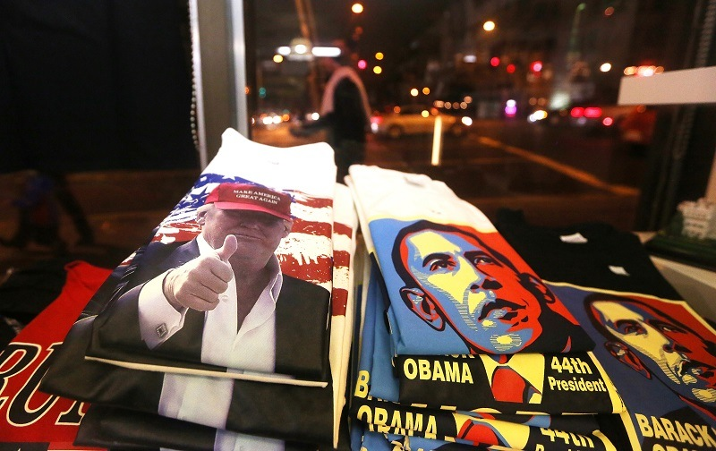 Competing Trump and Obama merch for sale in D.C., foreshadowing an executive order battle