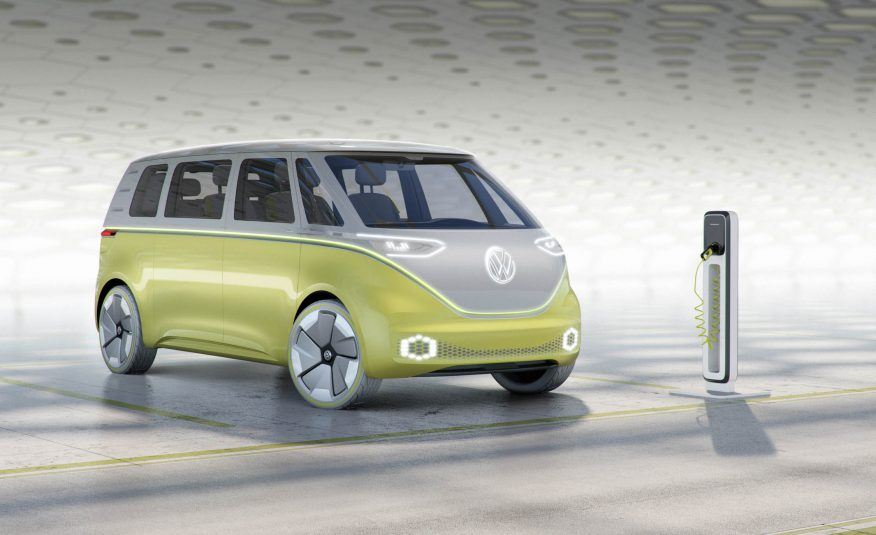 A Volkswagen I.D. Buzz in a light lime green color