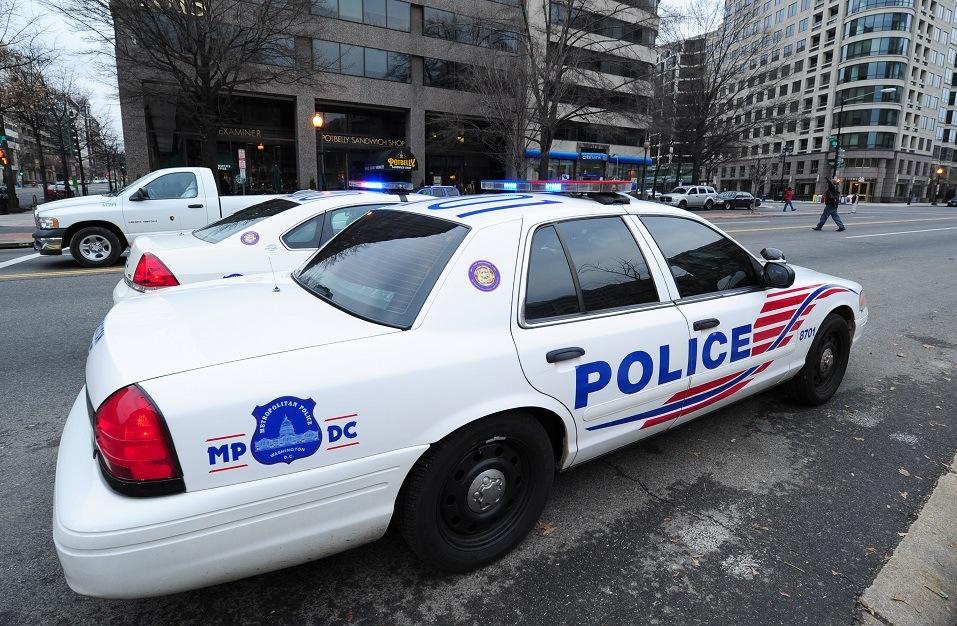 Washington, D.C., police cruisers parked on K Street