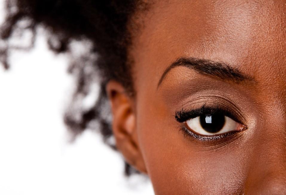 African American female brown watchful eye
