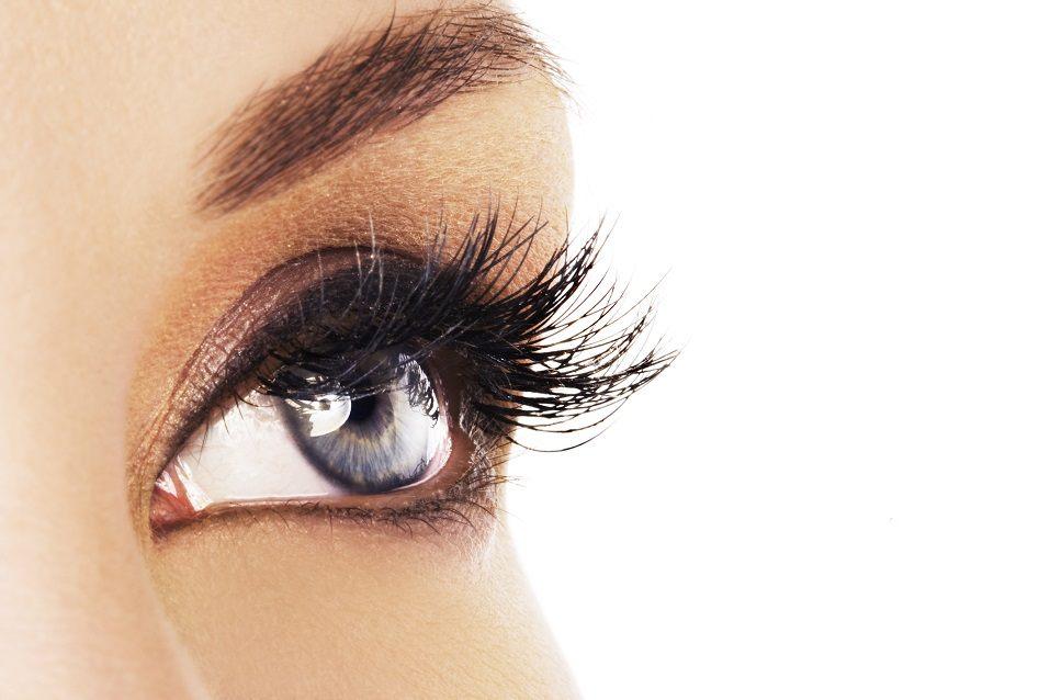 Woman eye with long eyelashes