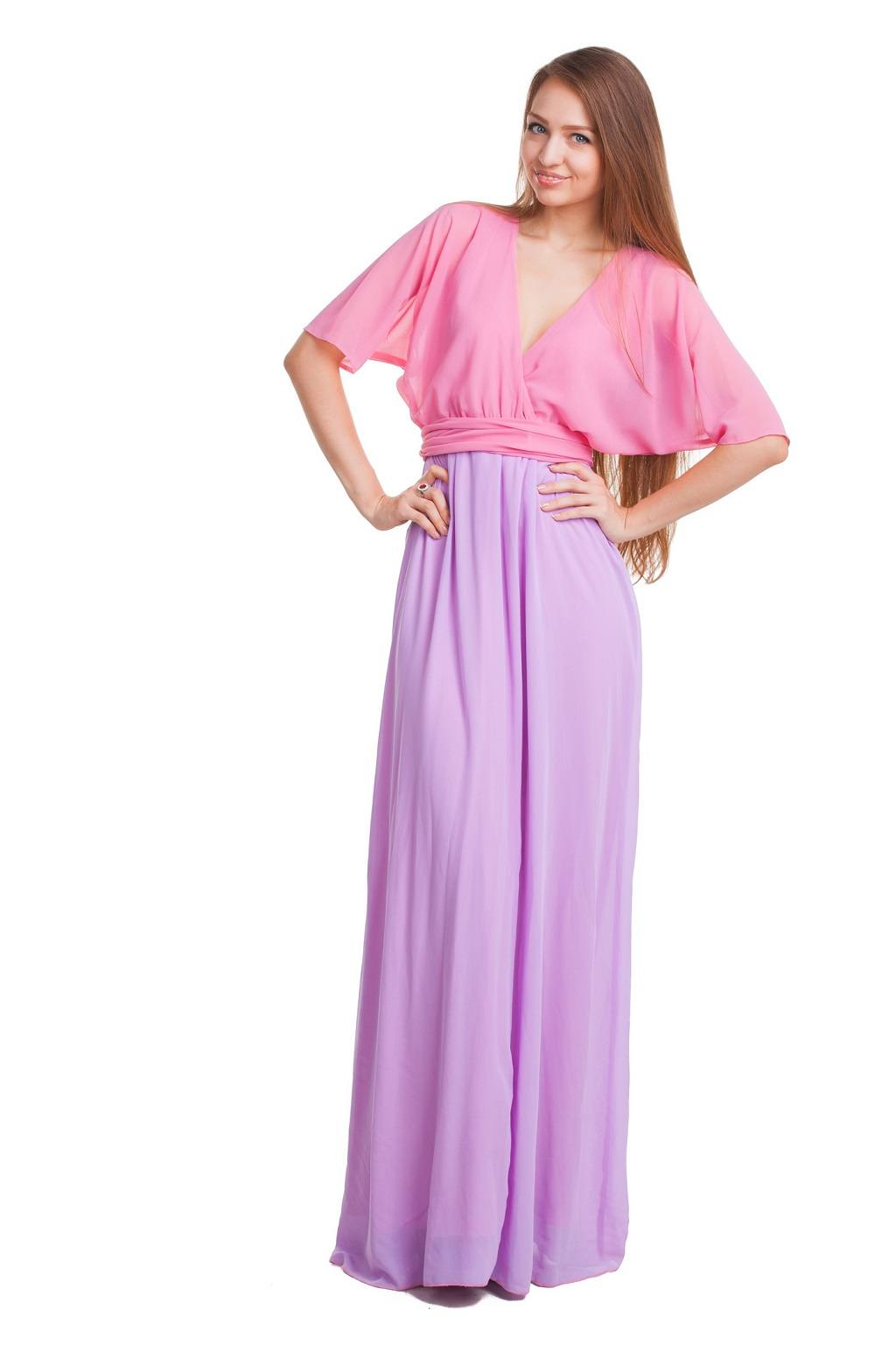 woman posing in long dress
