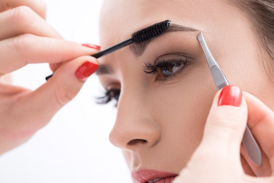 Cropped shot of eyebrow correction procedure