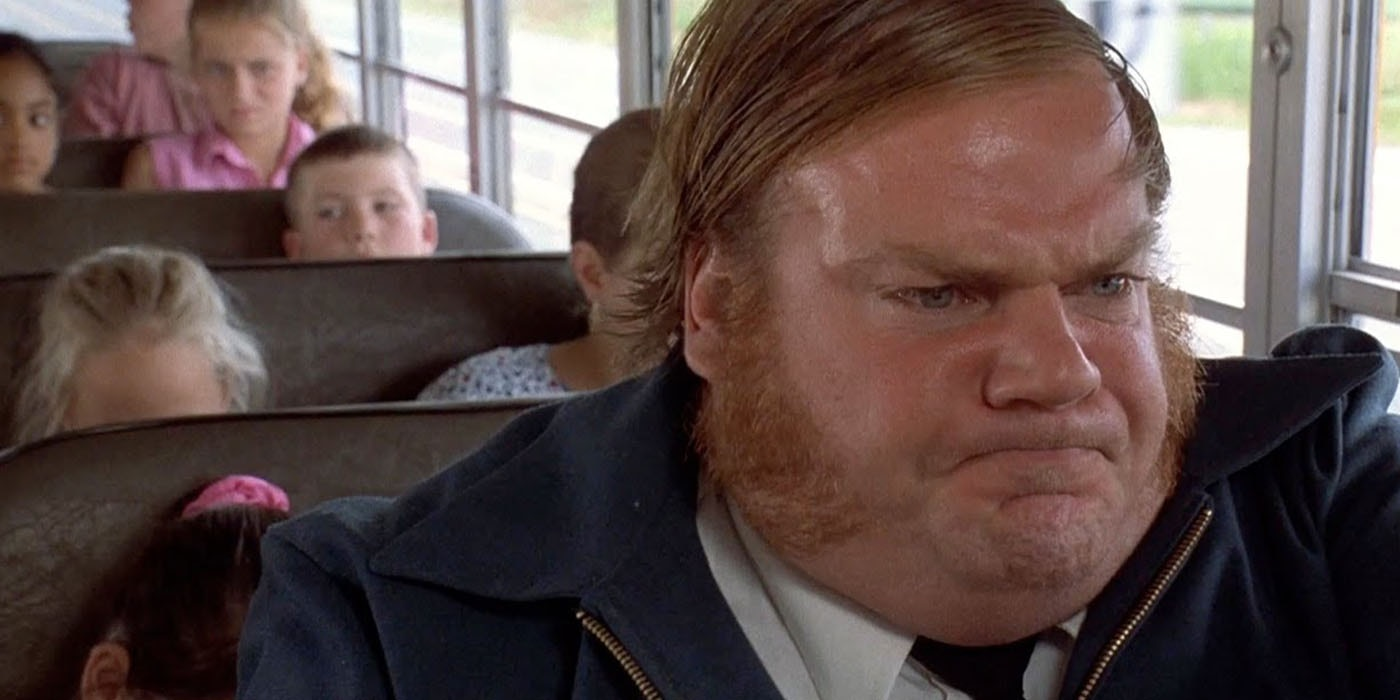 Chris Farley fighting stress as a bus driver in Billy Madison