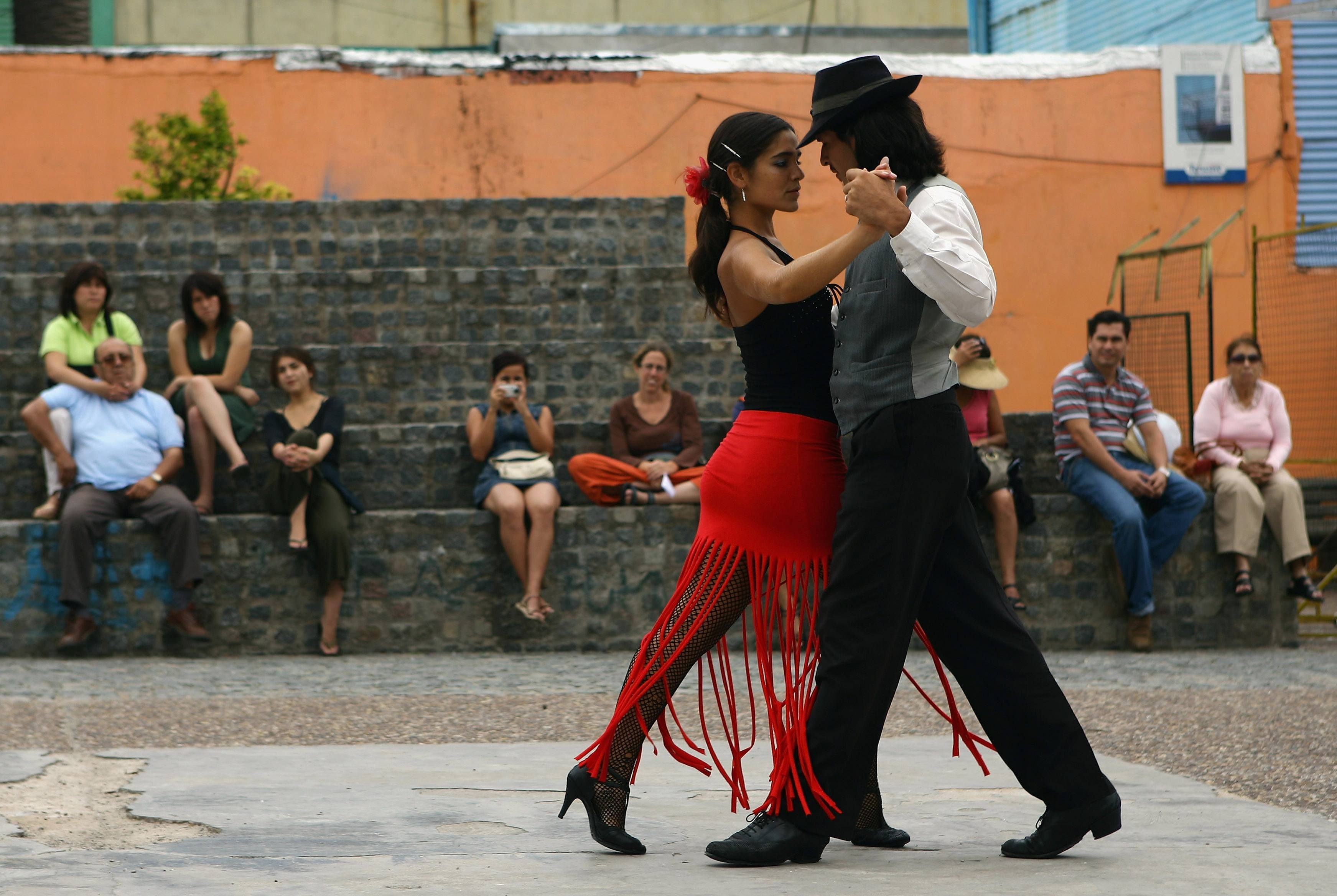 A couple dance to tango music in Buenos Aires, Argentina