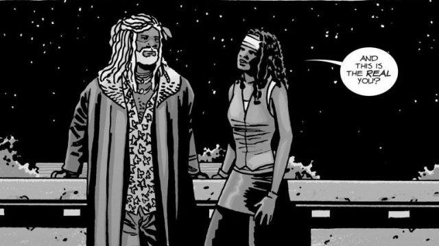 """In a panel from 'The Walking Dead' comic books. Ezekiel and Michonne stand together and she says, """"And this is the real you?"""""""
