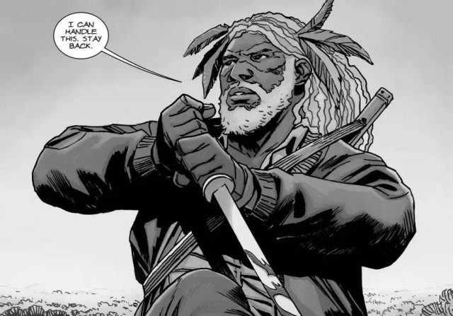 "In a panel from the comic books, Ezekiel holds a sword and says, ""I can handle this. Stay back."""