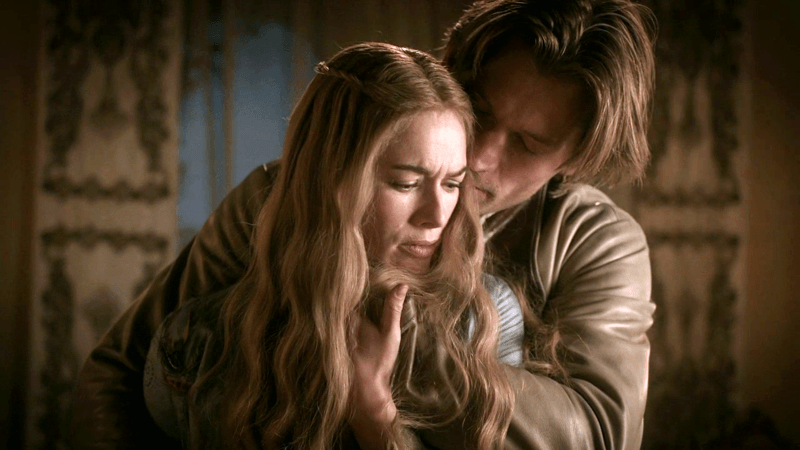 Jaime Lannister grabbing his sister Cersei Lannister on Game of Thrones