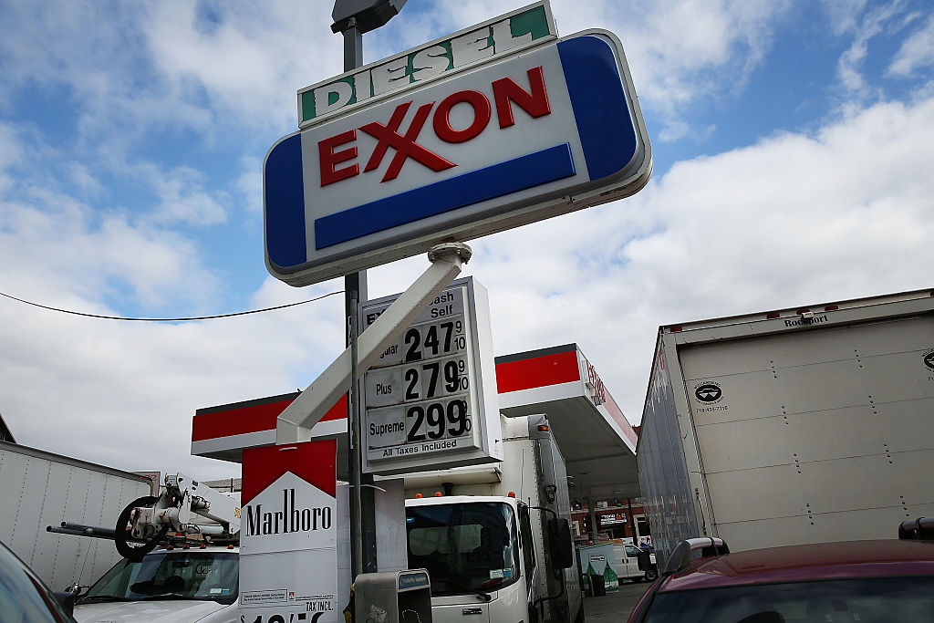 NEW YORK, NY - OCTOBER 28: A sign for an Exxon gas station stands in a Brooklyn neighborhood on October 28, 2016 in New York City. As lower gas prices continue to do damage to oil companies, the world's largest publicly traded oil producer reported a 38% decline in quarterly profit. Exxon shares were down 1% to $86.04 late Friday morning.