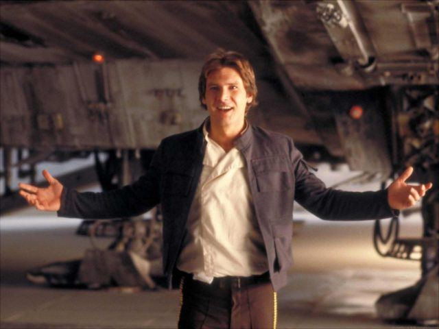 Harrison Ford gesturing with his hands in 'Han Solo in A New Hope'.