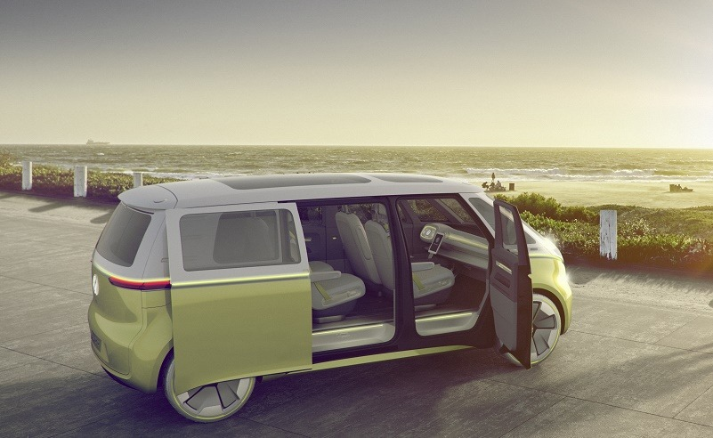 I.D. Buzz concept by Volkswagen in light lime green