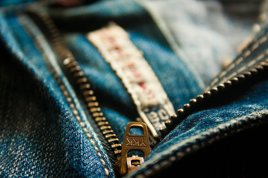 A zipper on a pair of jeans
