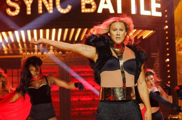 Channing Tatum lip-syncing to Beyonce during 'Lip Sync Battle'