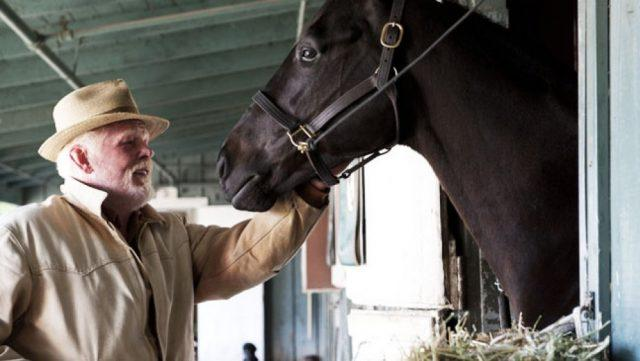 Anthony Hopkins tends to a horse in a stable