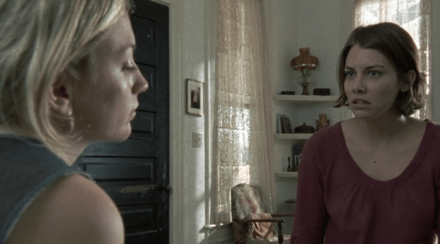 "Maggie talks to Beth in a scene from 'The Walking Dead' episode ""18 Miles Out"""