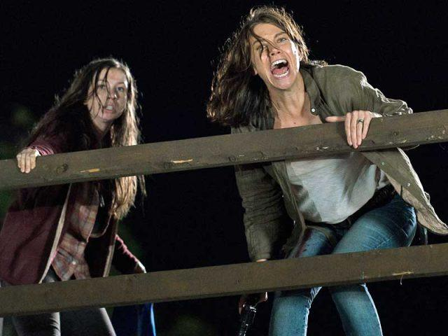 """Enid and Maggie fight on the lookout tower in """"No Way Out"""""""