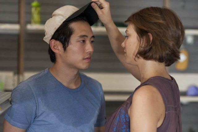 "Maggie takes Glenn's hat off in the pharmacy in 'The Walking Dead' episode, ""Cherokee Rose"""