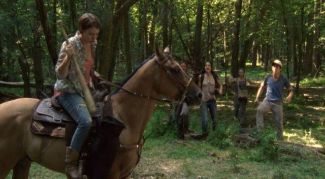 "Maggie on her horse in a scene from 'The Walking Dead' episode ""Bloodletting"""