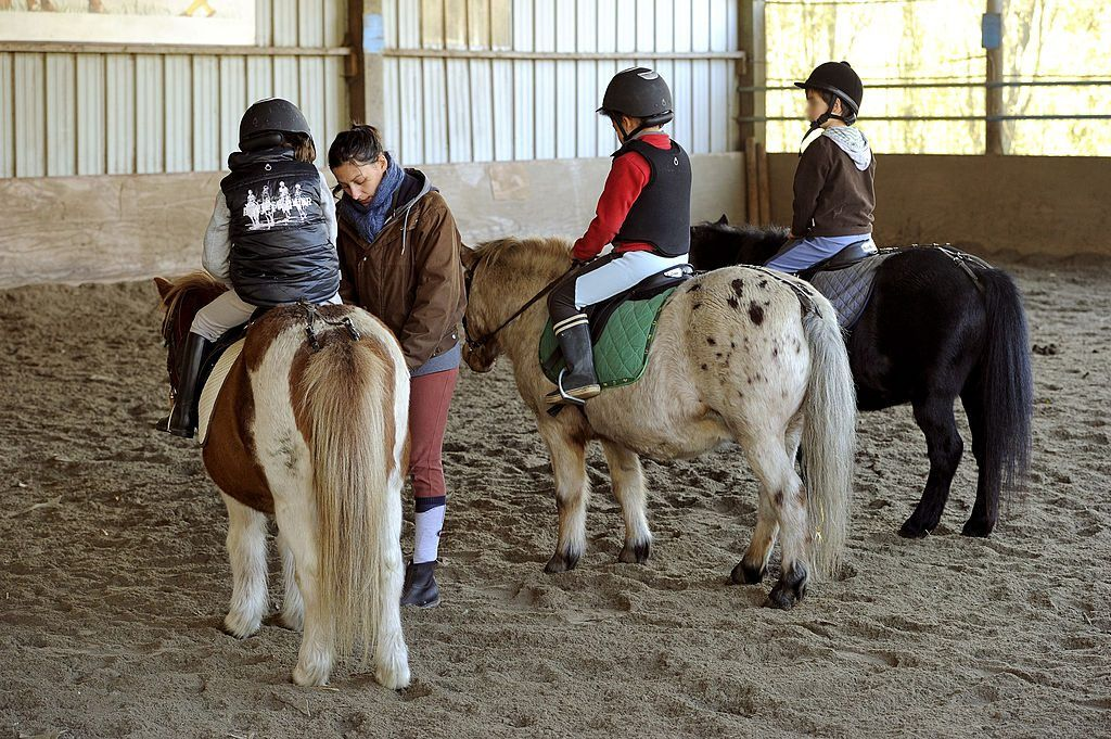 children riding ponies