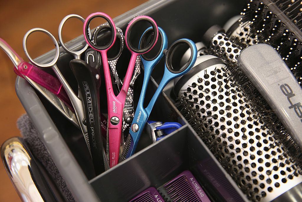 hairbrushes and scissors