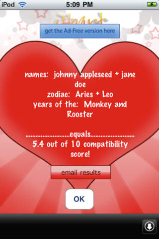 Results displayed on the iHeart Love Compatibility Match Calculator app