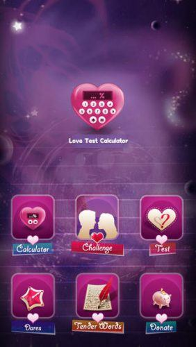 Love Test Calculator home screen