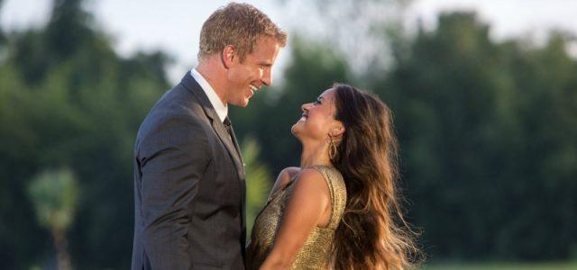 Sean Lowe smiles and looks down at Catherine on The Bachelor