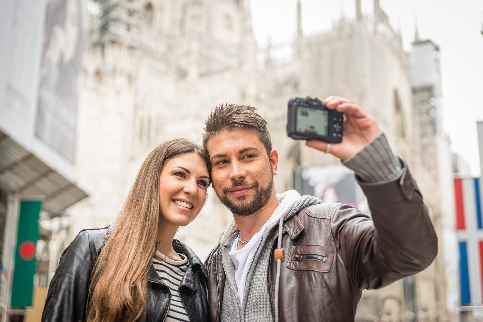 A couple taking a photo