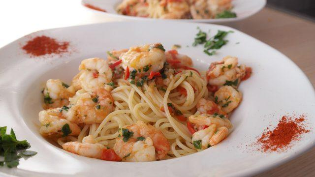 pasta with sautéed shrimp
