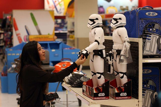 Target shopper looking at Stormtroopers