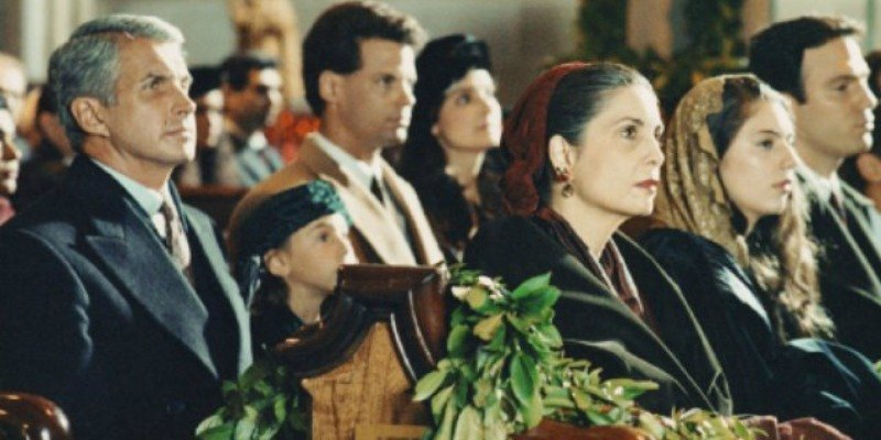 The cast is sitting in church in The Godfather: Part III.