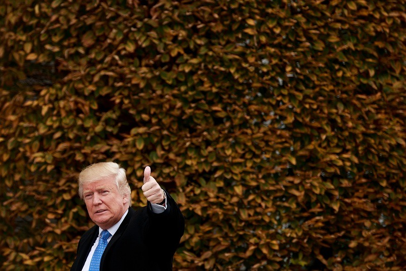 President-elect Donald Trump gives a thumbs up