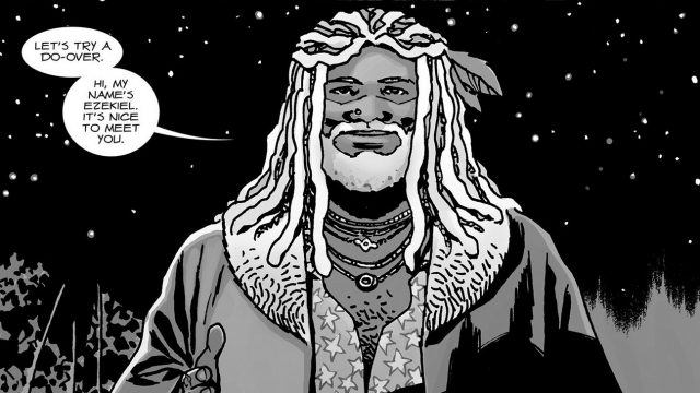 """A panel from 'The Walking Dead' comics shows King Ezekiel saying """"Let's try a do-over. Hi, my name's Ezekiel. It's nice to meet you."""""""