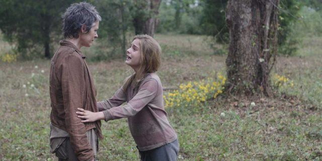 "Lizzie pleads with Carol in a scene from 'The Walking Dead' episode ""The Grove"""