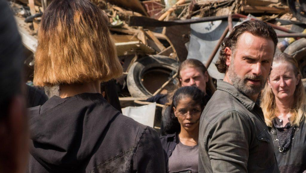 Rick Grimes (Andrew Lincoln) looks at another survivor in AMC's The Walking Dead