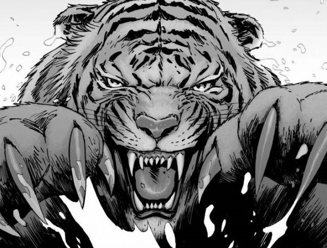 In a panel from the Walking Dead comics, Shiva pounces on a victim.