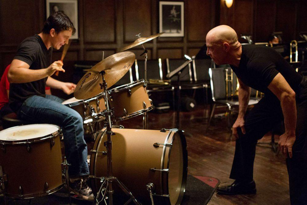 Miles Teller and J. K. Simmons in Whiplash