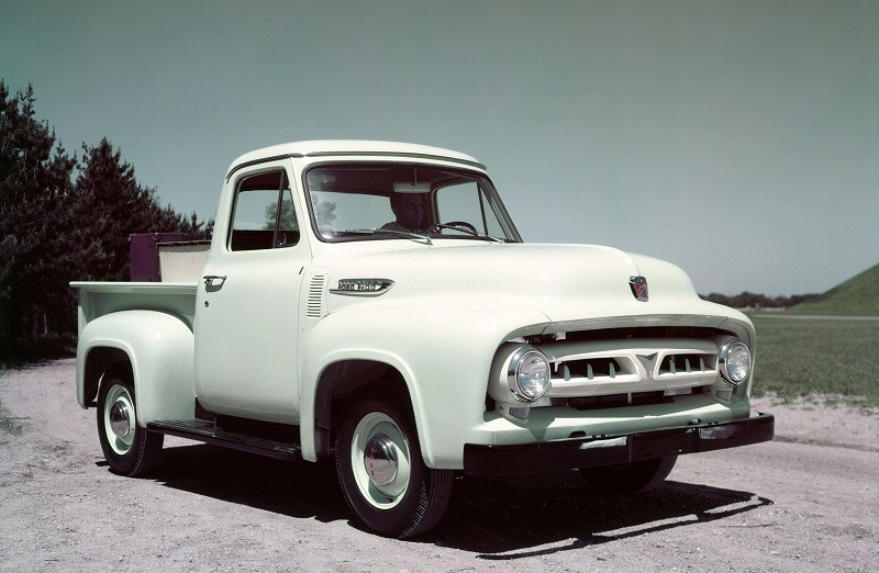 A pale green 1953 Ford F-100