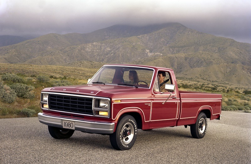 A red 1980 Ford F-150 Custom