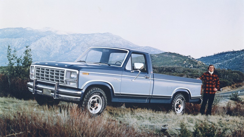 1980 Ford F-150 Ranger sits parked atop a mountain