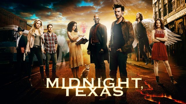 The cast of Midnight Texas stands on a street outside of a building