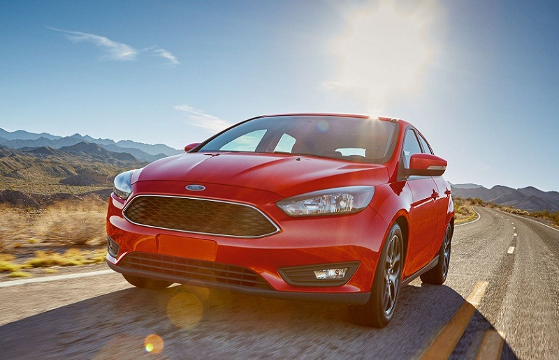 2017 Ford Focus Sedan in red.