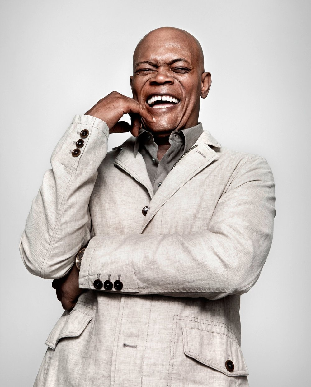 Samuel L. Jackson laughing.