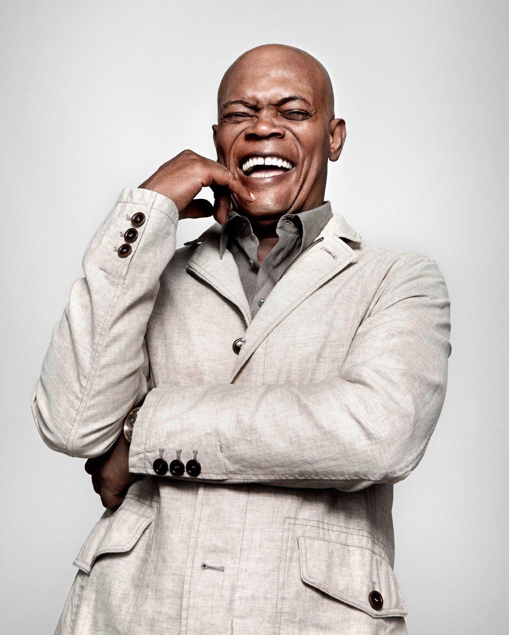 Samuel L. Jackson laughing.