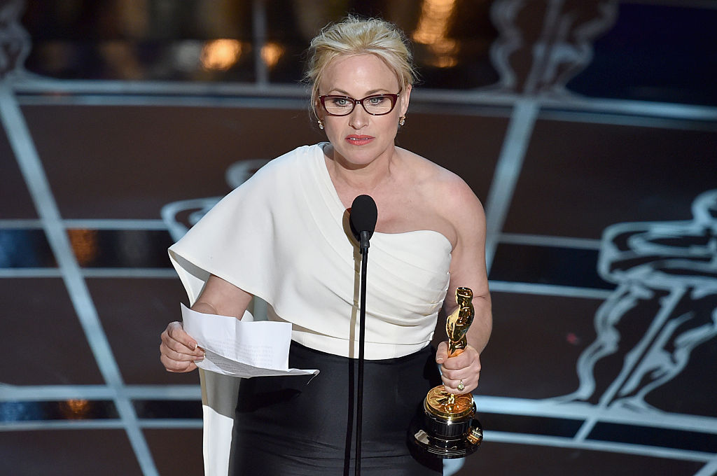 """Actress Patricia Arquette accepts the award for Best Actress in a Supporting Role for """"Boyhood"""""""