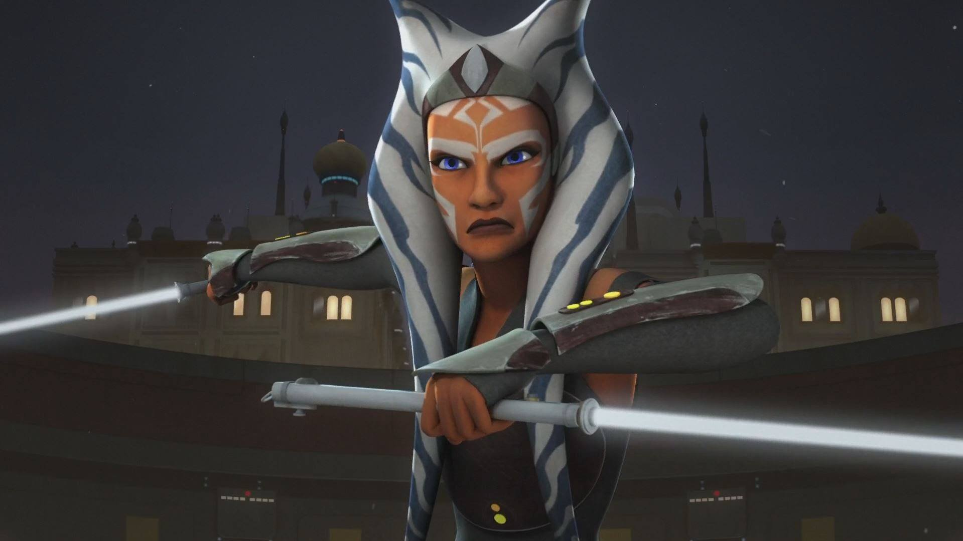 Ahsoka Tano holds up two lightsabers in Star Wars Rebels