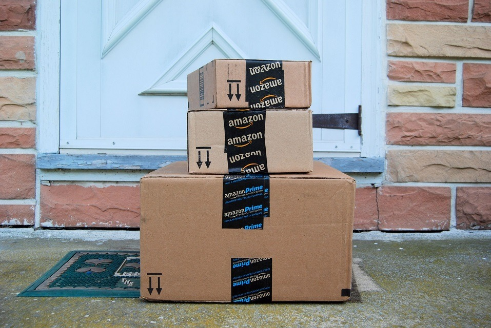 Amazon packages on a doorstep